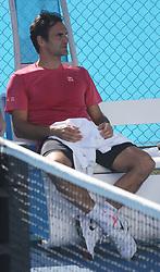 AU_1444767 - Perth, AUSTRALIA  -  Roger Federer training session at the RAC Arena in Perth, Western Australia<br /> <br /> Pictured: Roger Federer<br /> <br /> BACKGRID Australia 30 DECEMBER 2018 <br /> <br /> Phone: + 61 2 8719 0598<br /> Email:  photos@backgrid.com.au