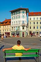 Slovénie, Ljubljana, capitale de la Slovénie, la Place Presernov // Slovenia, Ljubljana, the Presernov Square