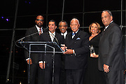 """15 November 2010- New York, NY- l to r: Don Coleman, New York State Governor David Paterson, Rev.. Al Sharpton, Former Mayor David Dinkins, Cathy Hughes, and Michael Hardy, Esq. at The National Action Network's 1st Annual Triumph Awards honoring """"Our Best"""" in the Arts, Entertainment, & Sports held at Jazz at Lincoln Center on November 15, 2010 in New York City. Photo Credit: Terrence Jennings"""
