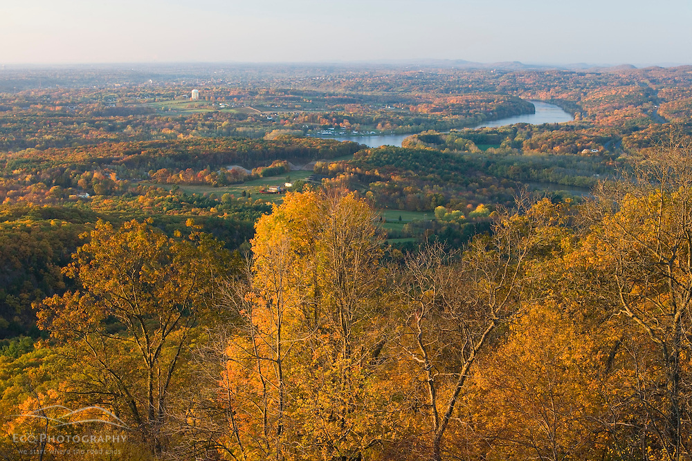 Farms, forest, and the Connecticut River in fall as seen from Mount Holyoke in Hadley, Massachusetts.  Skinner State Park.
