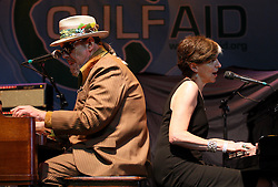 16 May 2010. New Orleans, Louisiana. <br /> Gulf Aid - a benefit festival for Louisiana fishermen and our coast.<br /> The Voice of the Wetlands Allstars. L/R; Dr John and Marcia Ball.  Local musicians have gathered together in response to BP's massive oil spill in the Gulf of Mexico, threatening the very fabric of an entire region. All proceeds from the event will be used to support local fishing communities and the region.<br /> Photo credit; Charlie Varley/varleypix.com