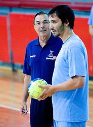 Head coach Miro Pozun and David Spiler at practice of Slovenian Handball Men National Team, on June 4, 2009, in Arena Kodeljevo, Ljubljana, Slovenia. (Photo by Vid Ponikvar / Sportida)