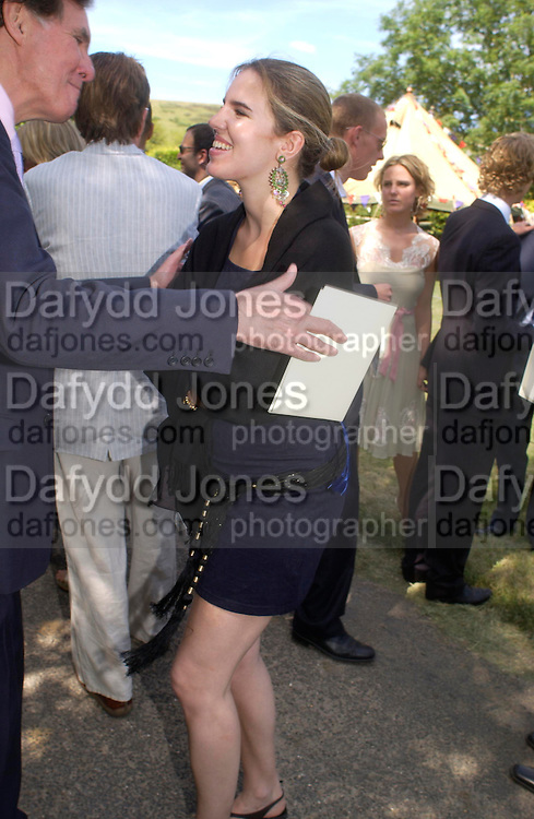 Jonathan Aitken and Victoria Aitken. Marriage of Emilia Fox to Jared Harris. St. Michael's and All Angels. Steeple. Nr. Wareham. Dorset. 16 July 2005. ONE TIME USE ONLY - DO NOT ARCHIVE  © Copyright Photograph by Dafydd Jones 66 Stockwell Park Rd. London SW9 0DA Tel 020 7733 0108 www.dafjones.com