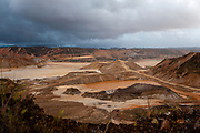 Landscape devastated by mining activity in Huepetuhe, Peru. Huepetuhe is a town where the largest gold extraction is concentrated every day, destroying the Amazon rainforest.