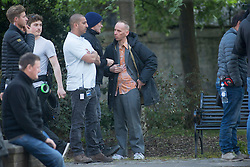 Director Danny Boyle and Ewen Bremner in Trainspotting2 filming at Ferry Road.