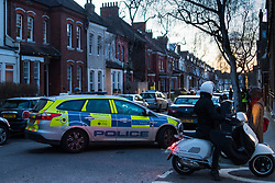 A Police car blocks Sumatra Road in West Hampstead, London, where the front facade of a Victorian house undergoing renovation has collapsed. There are no reported casualties. London, February 10 2018.