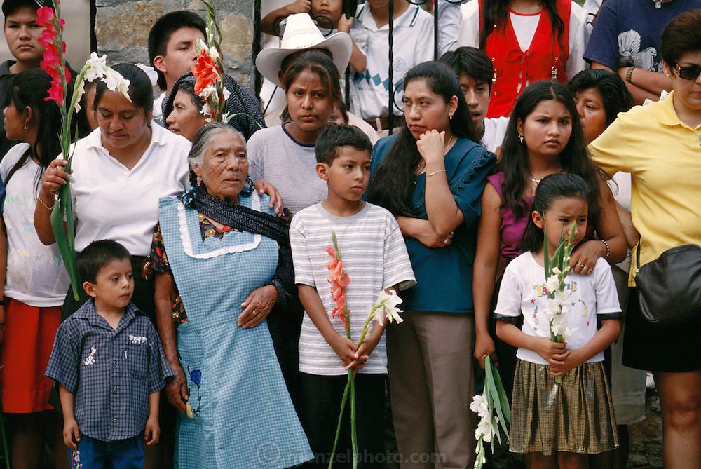 Spectators at the patron saint festival at Coyotepec Oaxaca, Mexico.