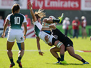 Dubai UAE. New Zealand's Stacey Waaka received a yellow card after this tackle on South Africa's Jackie Kriel, during the HSBC World Rugby Women's Sevens Series, 30 November 2017. Photo By Francois Steenkamp/SPORTDXB / www.photosport.nz