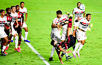 SAO PAULO, BRAZIL - FEBRUARY 25: Pedro of CR Flamengo competes for the ball with Antonio Galeano of Sao Paulo FC ,during the Brasileirao Serie A 2020 match between Sao Paulo FC and CR Flamengo at Morumbi Stadium on February 25, 2021 in Sao Paulo, Brazil. (Photo by MB Media/BPA)