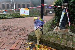 © Licensed to London News Pictures. 08/11/2019. LONDON, UK.  A floral tribute to the victim placed at a police cordon outside the London Borough of Hillingdon Civic Centre in Uxbridge.  Scotland Yard have reported that the previous afternoon, police were called to the building at 4.30pm to find an 18 year old man stabbed in the chest who was then taken to hospital but was pronounced dead just before 5.30pm.  A 17 year old boy was arrested on suspicion of murder..  Photo credit: Stephen Chung/LNP