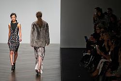 © London News Pictures. 15/02/2013. London, UK.  A model walks the runway at the Zoe Jordan show by designer Zoe Jordan at London Fashion Week Autumn Winter 2013 on February 15, 2015. Photo credit : Ben Cawthra/LNP