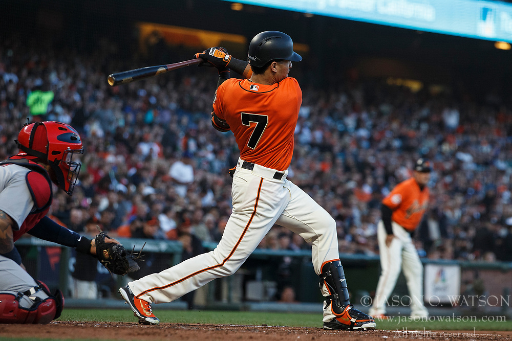 SAN FRANCISCO, CA - JULY 06: Gorkys Hernandez #7 of the San Francisco Giants at bat against the St. Louis Cardinals during the second inning at AT&T Park on July 6, 2018 in San Francisco, California. The San Francisco Giants defeated the St. Louis Cardinals 3-2. (Photo by Jason O. Watson/Getty Images) *** Local Caption *** Gorkys Hernandez