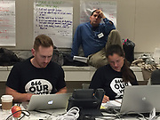 Election protection monitors workers field calls from frustrated voters.