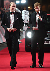 The Duke of Cambridge and Prince Harry attend The European Premiere of Star Wars: The Last Jedi, at the Royal Albert Hall, London, UK, on the 12th December 2017. Picture by Eddie Mulholland/WPA-Pool. 12 Dec 2017 Pictured: Prince William, Duke of Cambridge, Prince Harry. Photo credit: MEGA TheMegaAgency.com +1 888 505 6342