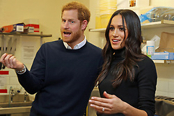 Prince Harry and Meghan Markle during a visit to Social Bite in Edinburgh, during their visit to Scotland.