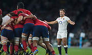 """Twickenham, England. """"come On, Play the Game Boy's, Danny CARE, appeal's to the referee, during the  QBE International. England vs France [World cup warm up match]  Saturday.  15.08.2015,  [Mandatory Credit. Peter SPURRIER/Intersport Images]."""