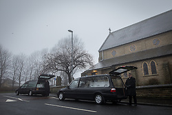 © Licensed to London News Pictures . 16/01/2017 . Oldham , UK .  The coffins arrive at the church . The funeral of cousins Helina Kotlarova and Zaneta Krokova at St Paul's Church in Oldham . The two girls , aged 12 and 11 respectively , were killed by a hit and run driver whilst crossing the road together , on New Years Eve (31st December 2016) . Photo credit: Joel Goodman/LNP