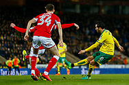 Norwich City midfielder Marco Vrancic (8) shoots at goal during the EFL Sky Bet Championship match between Norwich City and Barnsley at Carrow Road, Norwich, England on 18 November 2017. Photo by Phil Chaplin.