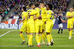 May 15, 2019 - Foxborough, MA, U.S. - FOXBOROUGH, MA - MAY 15: Chelsea celebrates the second from Chelsea FC midfielder Ross Barkley (8) during the Final Whistle on Hate match between the New England Revolution and Chelsea Football Club on May 15, 2019, at Gillette Stadium in Foxborough, Massachusetts. (Photo by Fred Kfoury III/Icon Sportswire) (Credit Image: © Fred Kfoury Iii/Icon SMI via ZUMA Press)