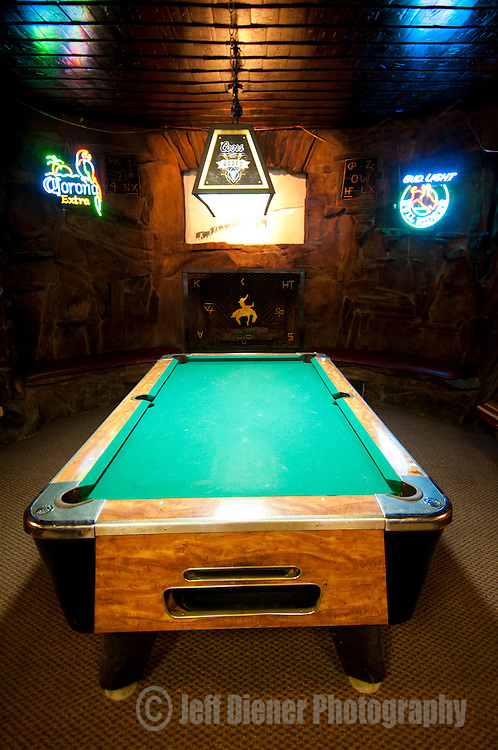A pool table sits in the back of The Mint Bar in Sheridan, Wyoming.