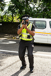 Pictured: PC Sacha Ponniah<br /> Councillor Lesley Hinds, transport convener for Edinburgh City Council, joined The Reducer at the launch of the new speed limit, which sees a maximum speed of 20mph in the city centre and rural west of the city from July 31<br /> <br /> Ger Harley | EEm 27 July 2016