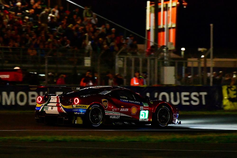 #51 AF Corse Ferrari 488 GTE EVO: Alessandro Pier Guidi, James Calado, Daniel Serra<br /> Wednesday 13 June 2018<br /> 24 Hours of Le Mans<br /> 2018 24 Hours of Le Mans<br /> Circuit de la Sarthe  FR<br /> World Copyright: Scott R LePage