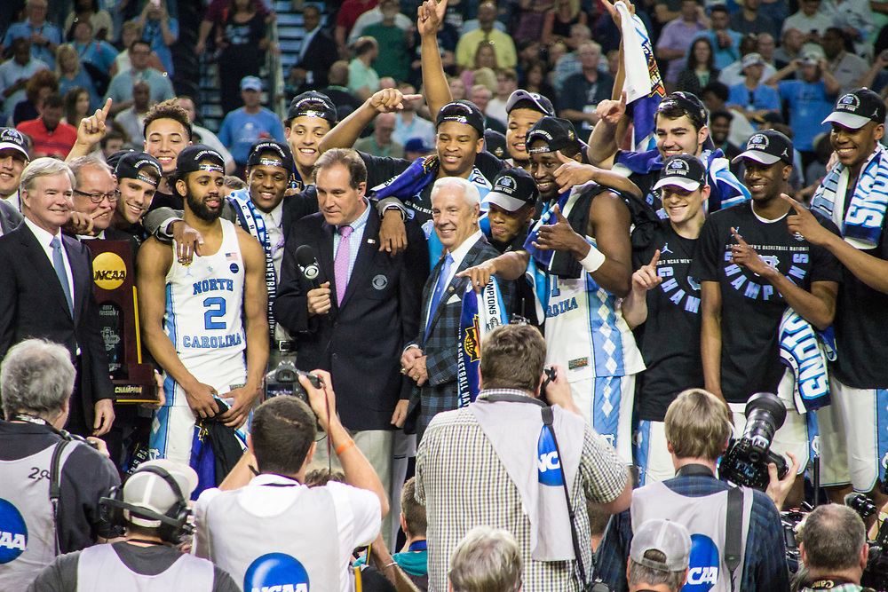 North Carolina celebrates after defeating the Gonzaga Bulldogs to win the 2017 NCAA Men's Basketball National Championship on April 3, 2017.