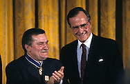 President H W Bush presents the Medal of Freedom to Lech Walesa in the East Room of the White House...Photograph by Dennis Brack, BB 29