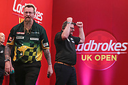 James Wade wins his quarter-finals match against Simon Whitlock and celebrates during the Ladbrokes UK Open Darts 2021 at stadium:mk, Milton Keynes, England. UK on 7 March 2021.
