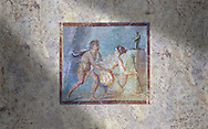 Roman Erotic Fresco from Pompeii depicting  a Satyr surprising a maiden,  Naples National Archaeological Museum - 50-79 AD , inv no 27693 , .<br /> <br /> If you prefer to buy from our ALAMY PHOTO LIBRARY  Collection visit : https://www.alamy.com/portfolio/paul-williams-funkystock - Scroll down and type - Roman Art Erotic  - into LOWER search box. {TIP - Refine search by adding a background colour as well}.<br /> <br /> Visit our ROMAN ART & HISTORIC SITES PHOTO COLLECTIONS for more photos to download or buy as wall art prints https://funkystock.photoshelter.com/gallery-collection/The-Romans-Art-Artefacts-Antiquities-Historic-Sites-Pictures-Images/C0000r2uLJJo9_s0