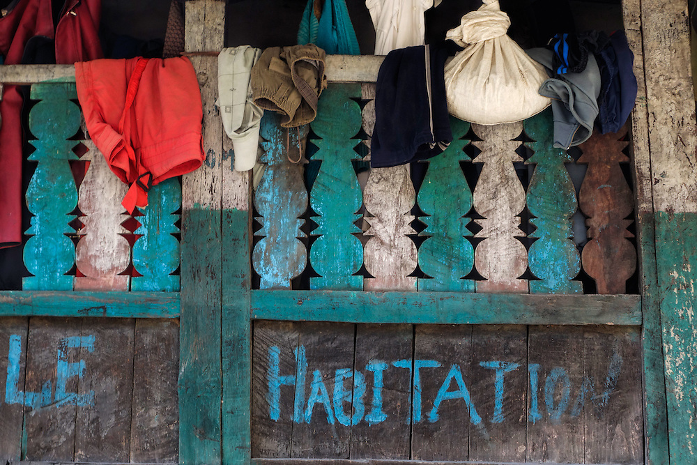 Clothing hanging from the balcony of a house in the village of Jagat, Nepal.