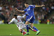 Rob Hall of MK Dons is challenged by Nemanja Matic of Chelsea. The Emirates FA cup, 4th round match, MK Dons v Chelsea at the Stadium MK in Milton Keynes on Sunday 31st January 2016.<br /> pic by John Patrick Fletcher, Andrew Orchard sports photography.