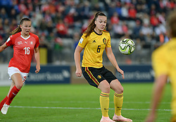 October 9, 2018 - Biel, SWITZERLAND - Belgium's Tine De Caigny and Swiss Malin Gut pictured in action during a soccer game between Switzerland and Belgium's national team the Red Flames, Tuesday 09 October 2018, in Biel, Switzerland, the return leg of the play-offs qualification games for the women's 2019 World Cup. BELGA PHOTO DAVID CATRY (Credit Image: © David Catry/Belga via ZUMA Press)