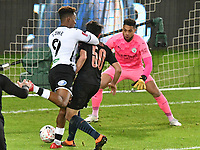 Football - 2020 / 2021 Emirates FA Cup - Round Five - Swansea City vs Manchester City - Liberty Stadium<br /> <br /> Jamal Lowe OF Swansea City is blocked by John Stones OF Manchester City