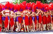 Photo Op. Dancers pose for photographers at 2013 Summer Solstice Parade, in Santa Barbara, California. California. ©CiroCoelho.com