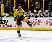NASHVILLE, TN - MAY 05:  Anthony Bitetto #2 celebrates after winning 4-3 in the third overtime period of Game Four of the Western Conference Second Round against the San Jose Sharks during the 2016 NHL Stanley Cup Playoffs at Bridgestone Arena on May 5, 2016 in Nashville, Tennessee.  (Photo by Frederick Breedon/Getty Images)