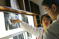 ..Hospital St. Louis..Paris....Radiologist Anne-Marie Zagdanski with a student, discussing scans