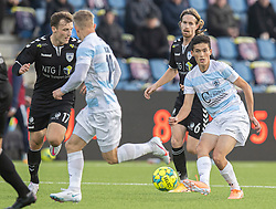 Elijah Just (FC Helsingør) under kampen i 1. Division mellem FC Helsingør og Kolding IF den 24. oktober 2020 på Helsingør Stadion (Foto: Claus Birch).