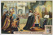 Jerusalem Delivered' (1580) epic poem by Torquato Tasso, Italian poet. Fictionalised story of First Crusade 1095-1099.  Crusaders'  service of thanksgiving in St Sepulchre, Jerusalem. Liebig Trade Card c1900. Chromolithograph.