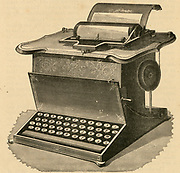 Remington typewritert with QWERTY keyboard, 1878. Engraving.