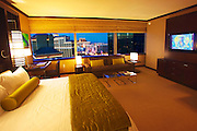 Room and view from the Vdara, City Center, Las Vegas, Nevada.