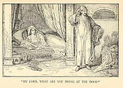 My Lord, What Are You Doing At The Door? from the book '  The Arabian nights' entertainments ' Test and Illustrations by Louis Rhead, Published  in New York by Harper & Brothers in 1916. In order to save her life, Sheherazade entertains the sultan by telling him wondrous stories