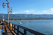 Stearns Wharf on the Coastline with Santa Ynez Mountains in Background