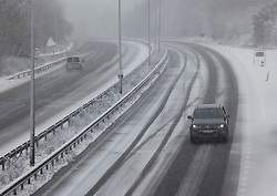 © Licensed to London News Pictures. 07/02/2021. Canterbury, UK. Blizzard conditions on the A2 near Canterbury, Kent as parts of the south east of England are hit by the effects of Storm Darcy. Photo credit: Peter Macdiarmid/LNP