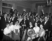 26/08/1959<br /> 08/26/1959<br /> 26 August 1959<br /> Spanish students at a performance of the Gael - Linn Caberet at the Central Hotel, Dublin. Picture shows some of the 50 students that attended (at rear) and the performers (in front). Included are: Sean Maguire, (Belfast) traditional violin; Kathleen Watkins, (Dublin) harpst; Gerty McCormack, (Dublin) champion Irish dancer; Aedin Ni Coileain; Fionula Ni Sulleabhain; Brendan O'Caomain; Aine Ni Canna and Diarmuid O'Broin.