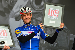 October 7, 2018 - Tours, France - TOURS, FRANCE - OCTOBER 7 : GILBERT Philippe (BEL)  of Quick - Step Floors receives a combativity price from PRUDHOMME Christian (FRA) Director of ASO during the 112th edition of the Paris - Tours Elite cycling race with start in Chartres and finish in Tours on October 07, 2018 in Tours, France, 7/10/2018  (Credit Image: © Panoramic via ZUMA Press)