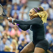 2019 US Open Tennis Tournament- Day Nine.  Serena Williams of the United States in action against Qiang Wang of China in the Women's Singles Quarter-Finals match on Arthur Ashe Stadium during the 2019 US Open Tennis Tournament at the USTA Billie Jean King National Tennis Center on September 3rd, 2019 in Flushing, Queens, New York City.  (Photo by Tim Clayton/Corbis via Getty Images)