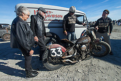 Harley-Davidson's Willie G Davidson with his wife Nancy, Mel Stutz and other members of the TROG team at the Race of Gentlemen. Wildwood, NJ, USA. October 11, 2015.  Photography ©2015 Michael Lichter.