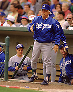 CHICAGO - CIRCA 1993:  Manager Tommy Lasorda of the Los Angeles Dodgers looks on during an MLB game versus the Chicago Cubs at Wrigley Field in Chicago, Illinois during the 1993 season. (Photo by Ron Vesely) Subject:   Tommy Lasorda