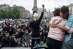 © Licensed to London News Pictures. 12/06/2020. London, UK. Black Lives Matter protesters gather in Trafalgar Square at the end of a demonstration in London. Protests have taken place across the United States and in cities around the world in response to the killing of George Floyd by police officers in Minneapolis on 25 May. Photo credit: Rob Pinney/LNP